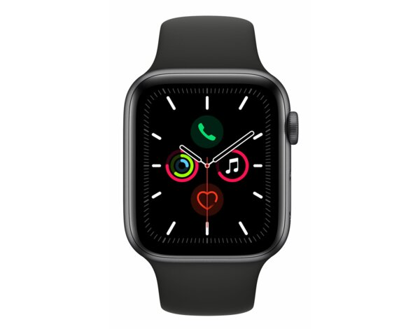 SmartWatch APPLE Watch Series 5 GPS+Cellular Koperta 44 mm z aluminium w kolorze gwiezdnej szarości z paskiem sportowym w kolorze czarnym MWWE2WB/A