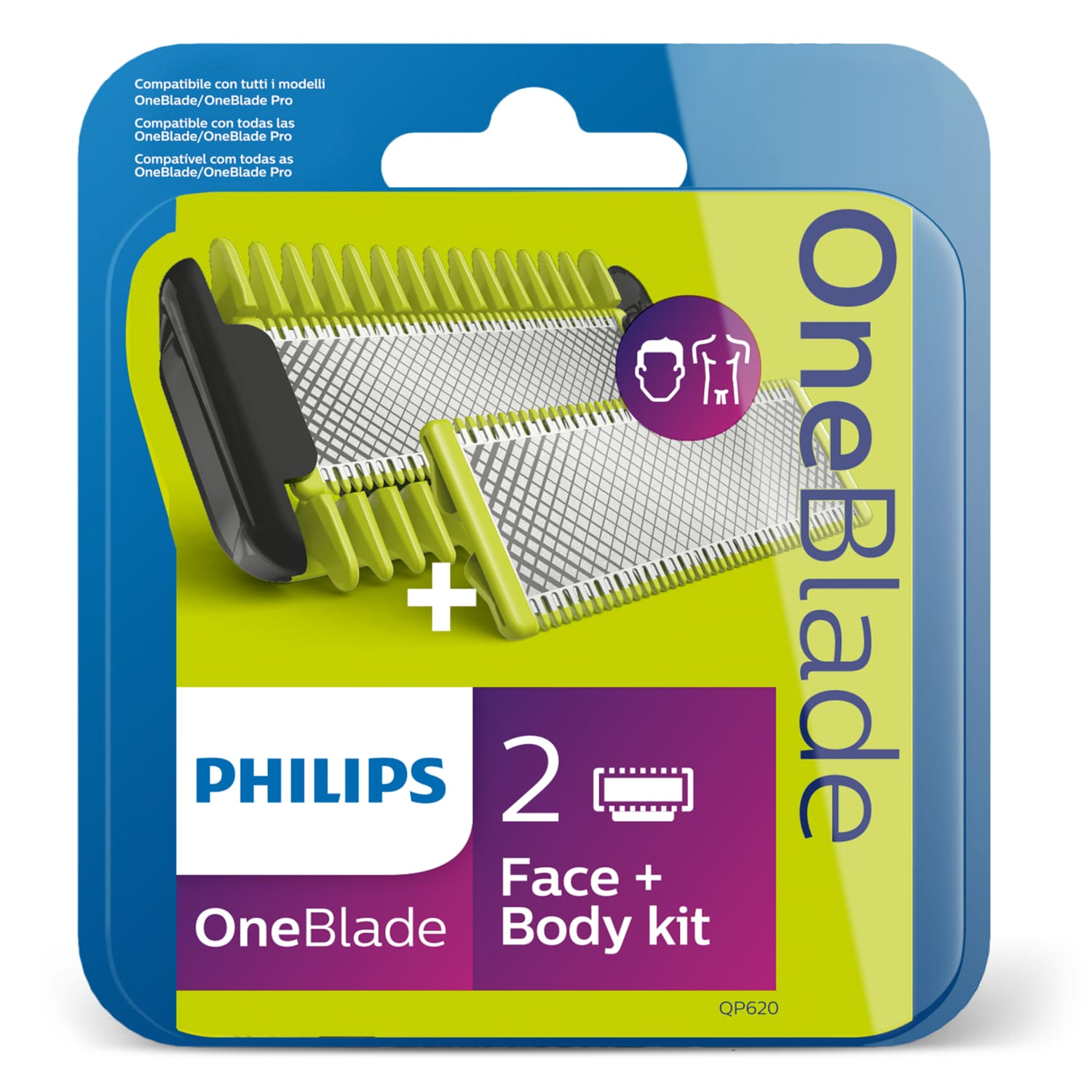 Wymienne ostrza PHILIPS OneBlade Face and Body QP620/50 2 sztuki