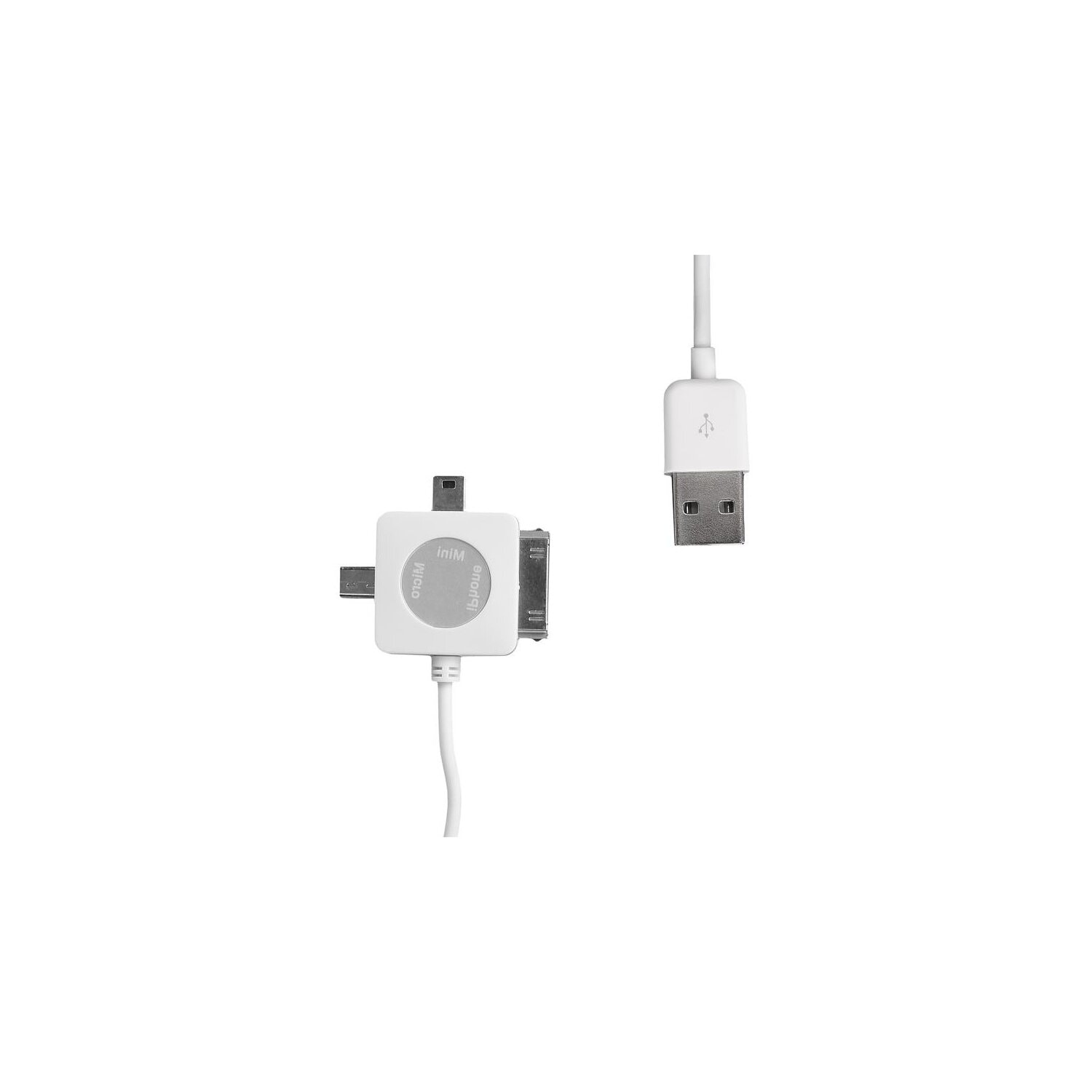 Kabel WHITENERGY USB 2.0 - mini/micro/30-pin 1m Biały