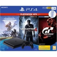 Konsola SONY PlayStation 4 Slim 1TB F Chassis Czarna + Horizon Zero Dawn Complete Edition + Uncharted 4: Kres Złodzieja + Gran Turismo Sport + PlayStation Plus 14 dni