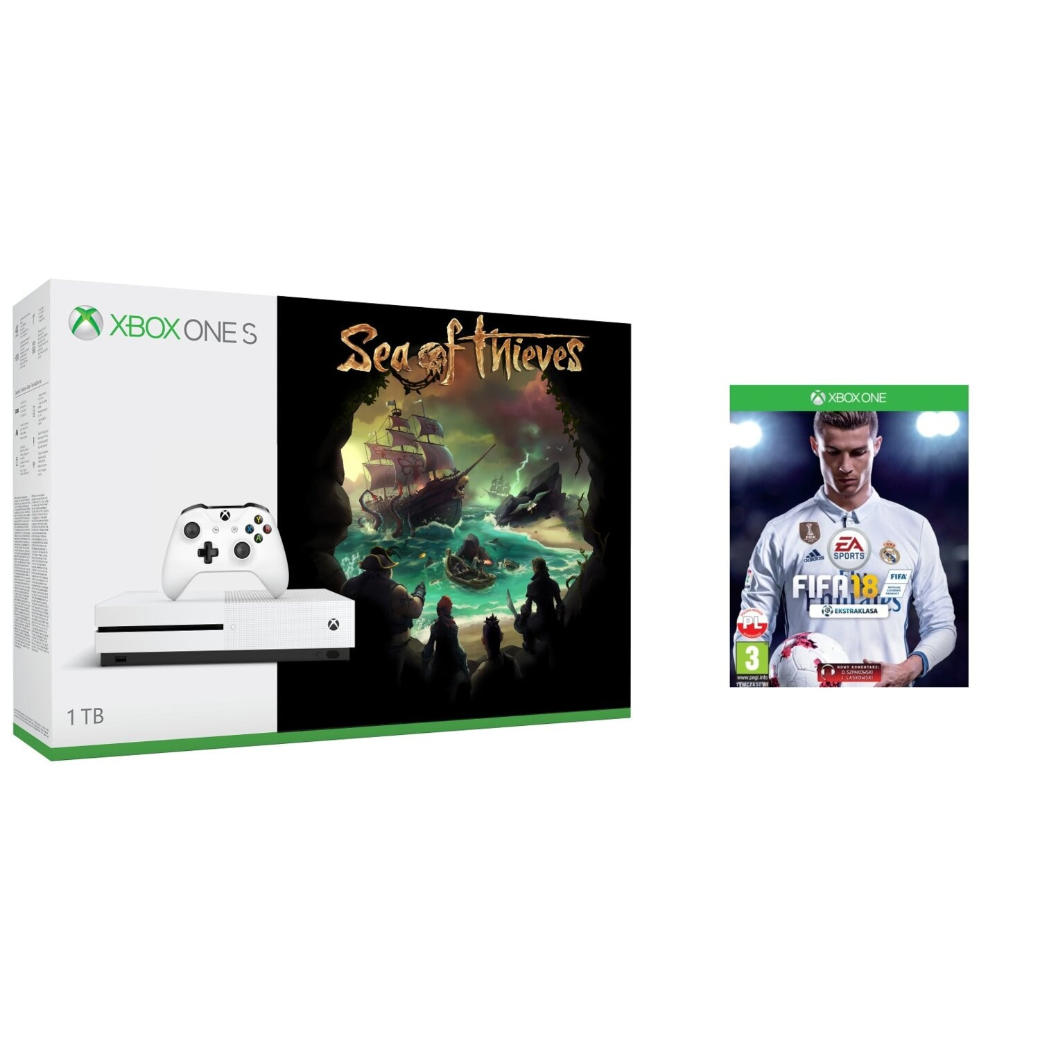 Konsola MICROSOFT Xbox One S 1TB + Sea of Thieves + FIFA 18 + 6 mies. Live Gold