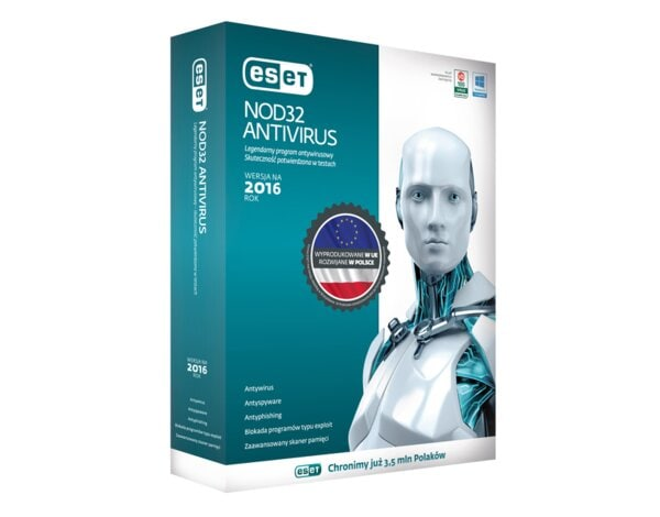 Program ESET NOD32 Antivirus 2016 (1 komputer, 2 lata)