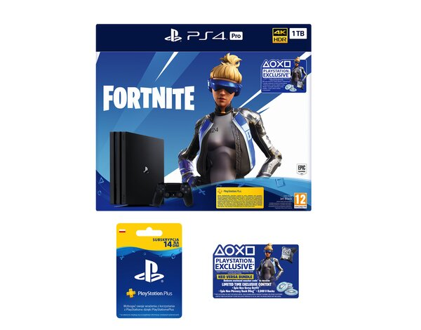 Konsola SONY PlayStation 4 Pro 1TB G Chassis Czarna + Zestaw do gry Fortnite: Neo Versa + Playstation Plus 14 dni